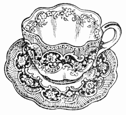 Vintage teacups sweetly scrapped  clip art