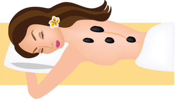 Vector illustration of woman receiving spa massage us clip art