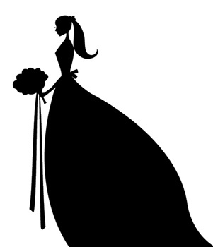 Bridal bride silhouette clipart