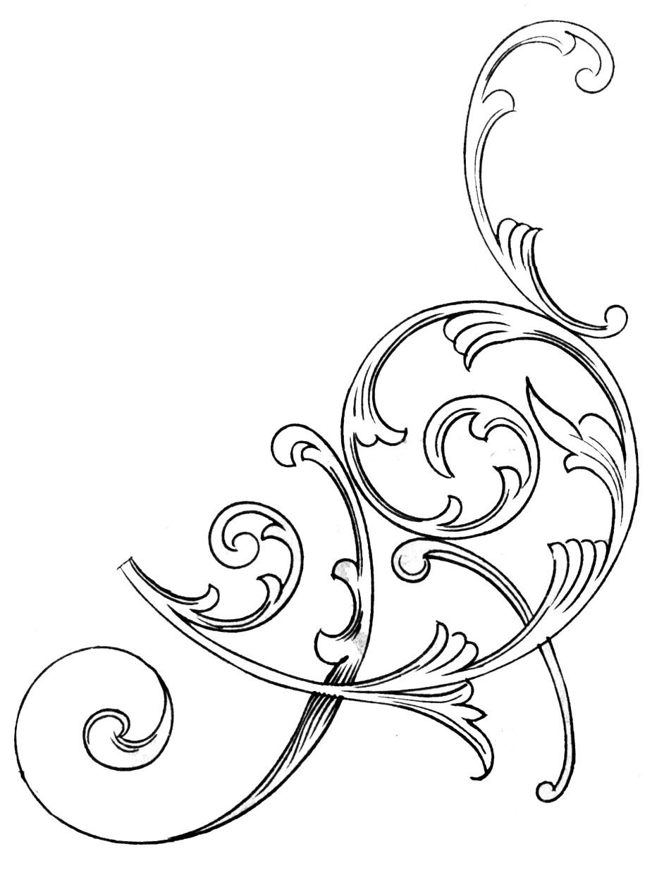 Scrollwork scroll line art clip art