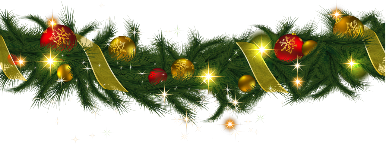 Transparent christmas pine garland with lights clipart 0