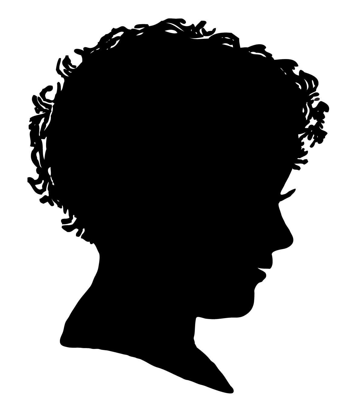 Vintage clip art silhouette boy  2