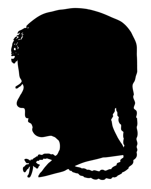Vintage clip art silhouette boy