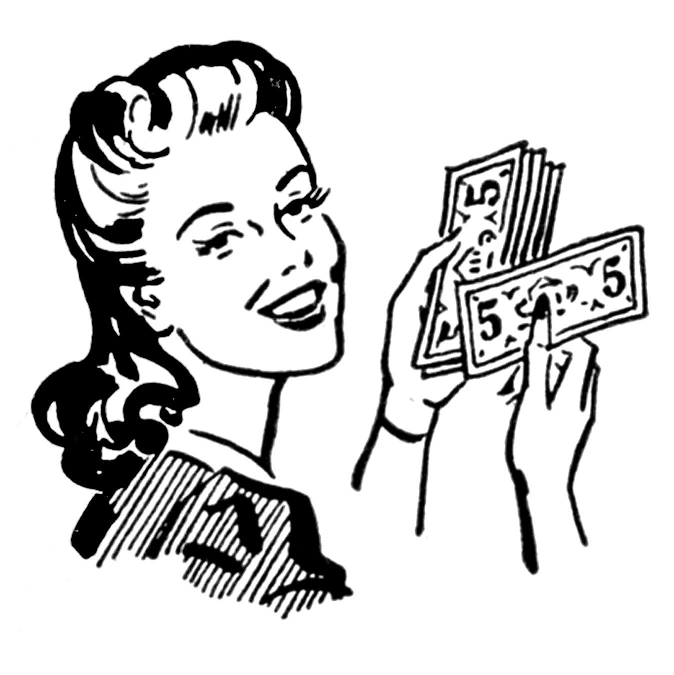 Coupon retro clip art money moms women the graphics fairy