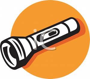 A flashlight on an orange background clip art