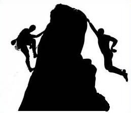 Rock climbing muscular rock climber clipart