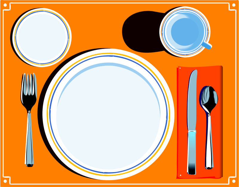 Clip art dinner table setting clipart 2