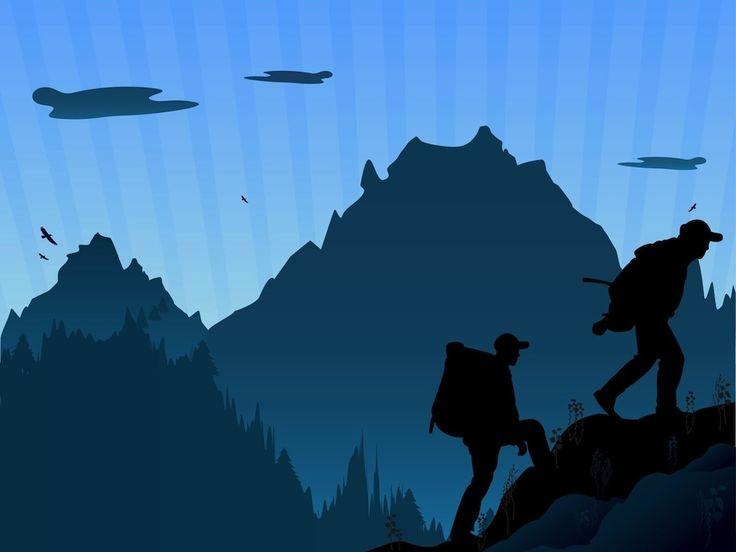 Hiker hiking silhouette clip art mountain hiking tatoo