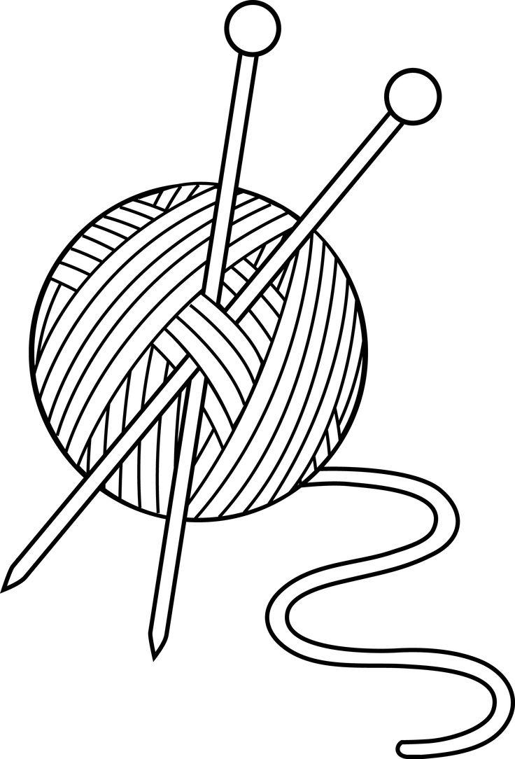 Knitting yarn needles lineart 4 1 clipart etc