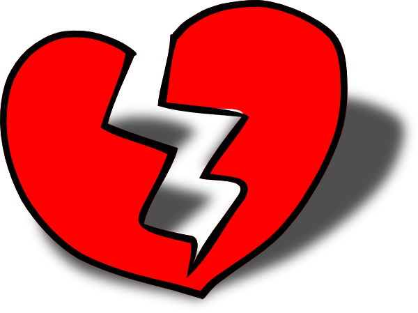 Broken heart clipart black and white free 3