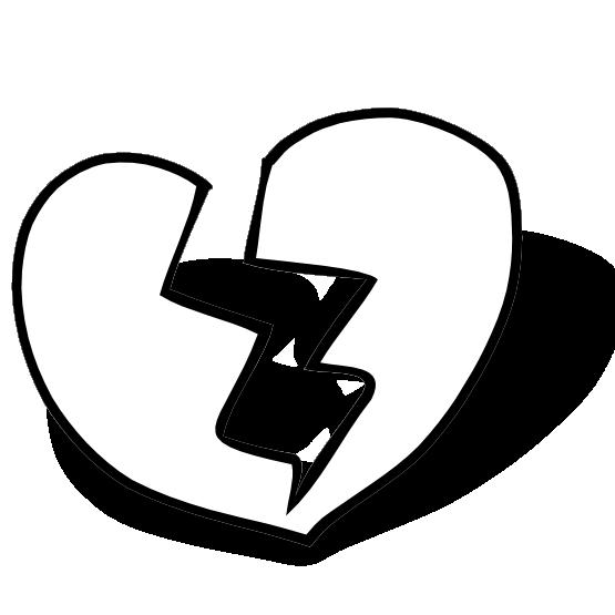 Clipartist net clip art broken heart sheet page black white