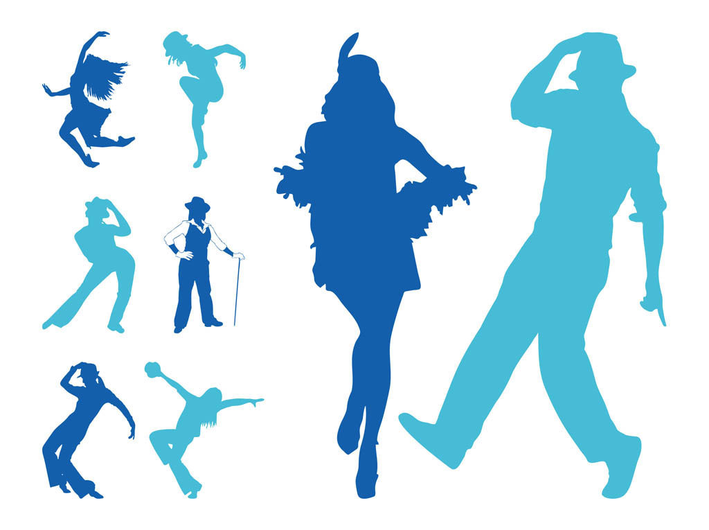 Jazz dancers silhouettes clipart clipart