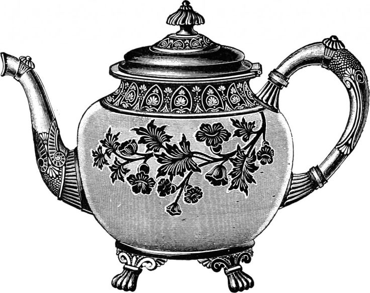 teapot clipart clip tea pot illustration victorian icons cliparts personal easy project