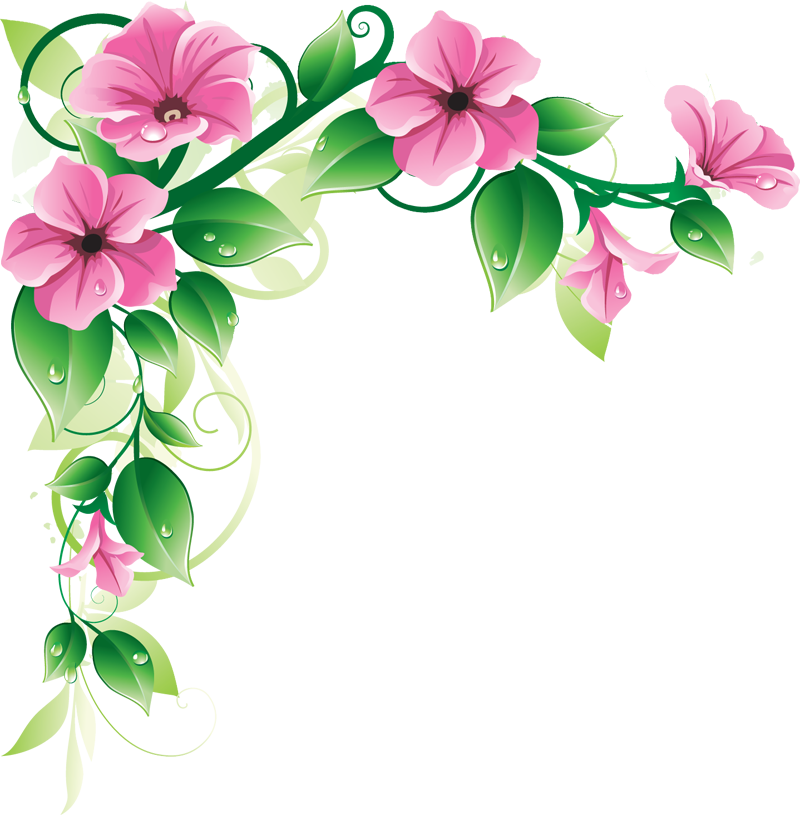 Pink flower border clip art free clipart images 2