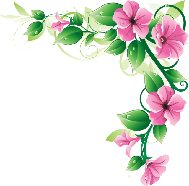Pink flower border clip art free clipart images