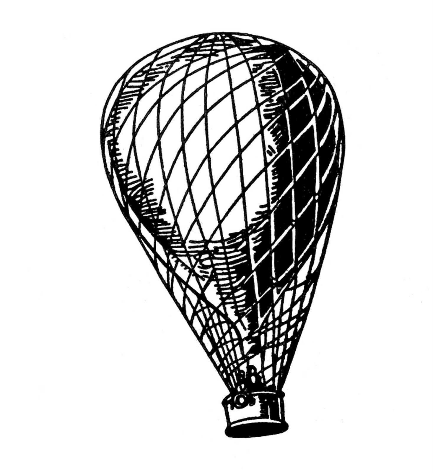 Vintage clip art transportation balloon airship aeroplane