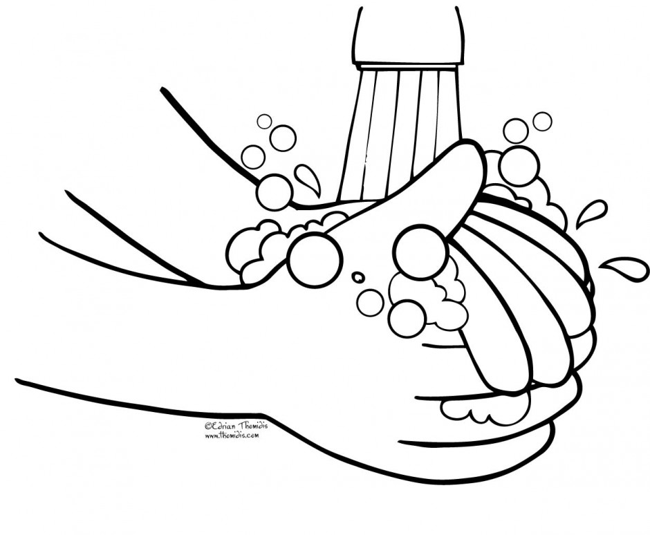 Hand Washing Coloring Pages For Kids Az Clipart