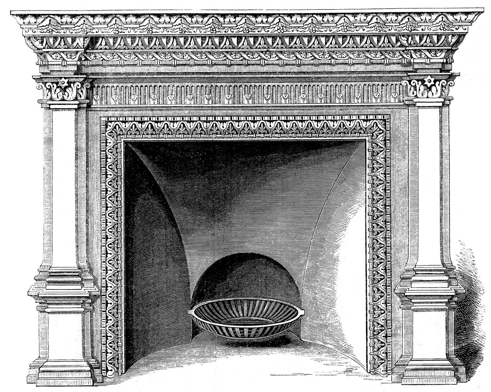Vintage clip art fireplace mantels christmas the graphics fairy 2