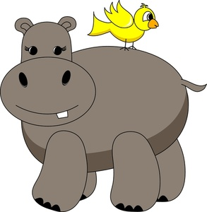 Clip art of cartoon hippopotamus clipart