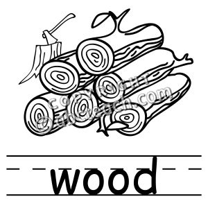 Clip art basic words wood