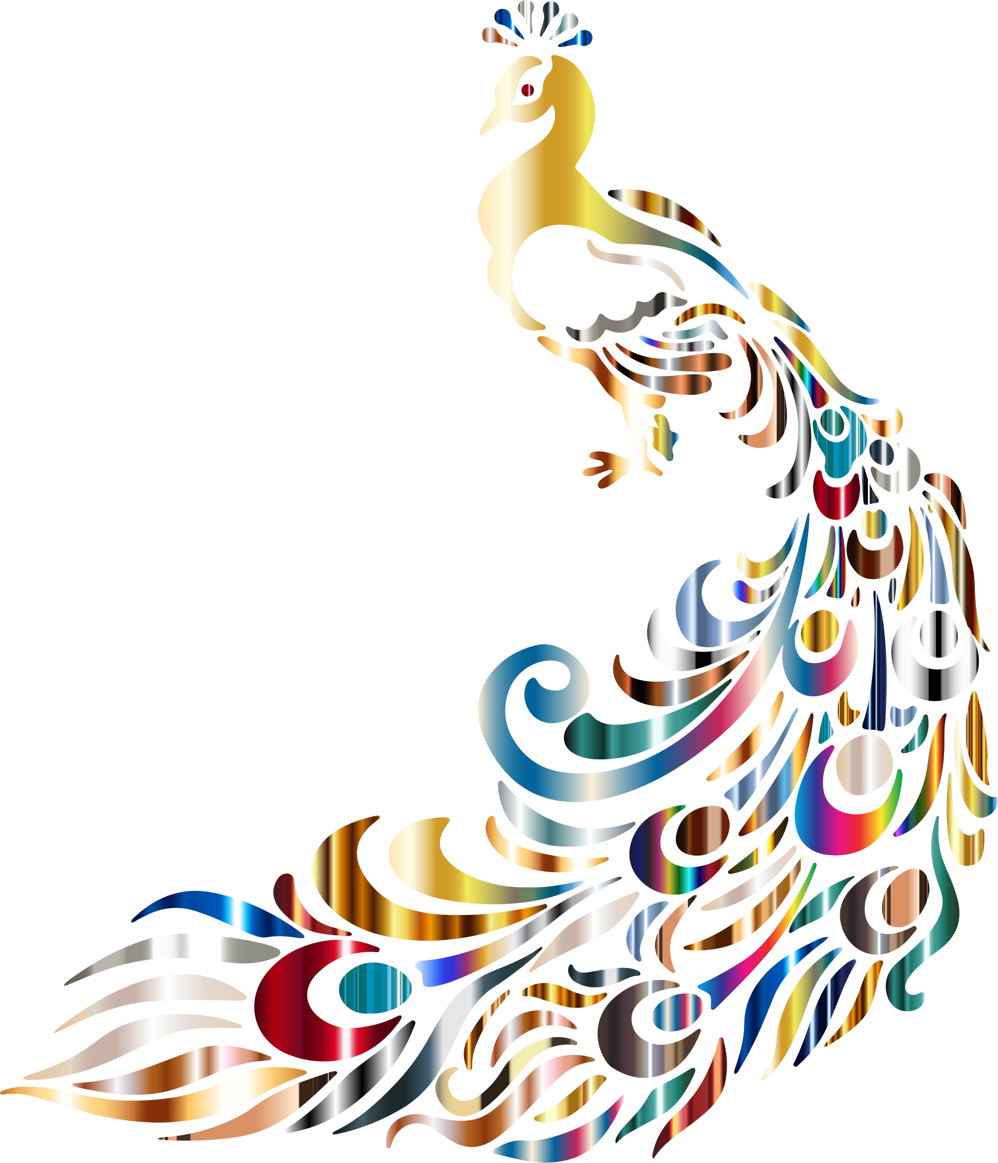 Clipart chromatic peacock 3 no background