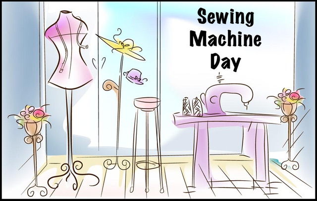 Sewing machine day clipart