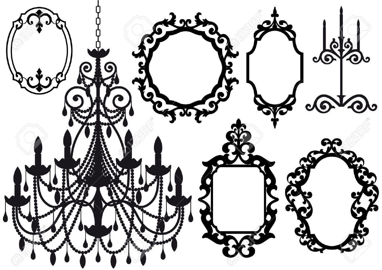 Chandelier silhouette clip art frame crystal chandelier
