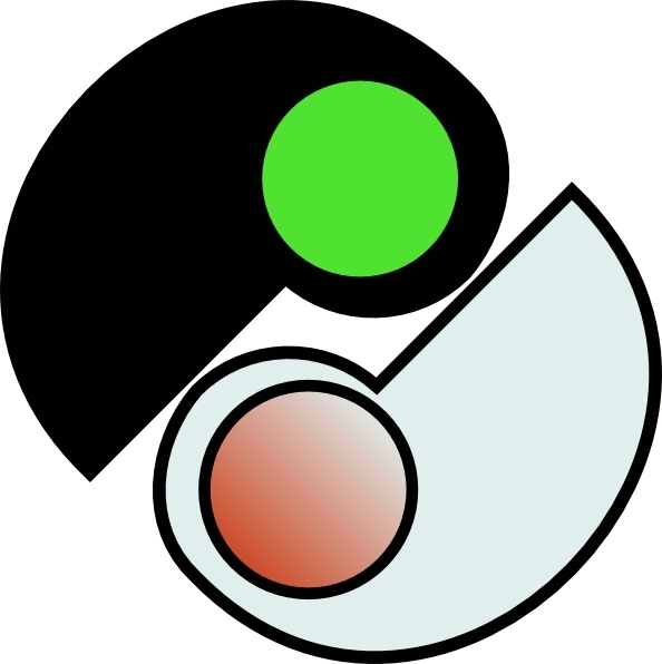 One and two yin yang clip art free vector in open office drawing